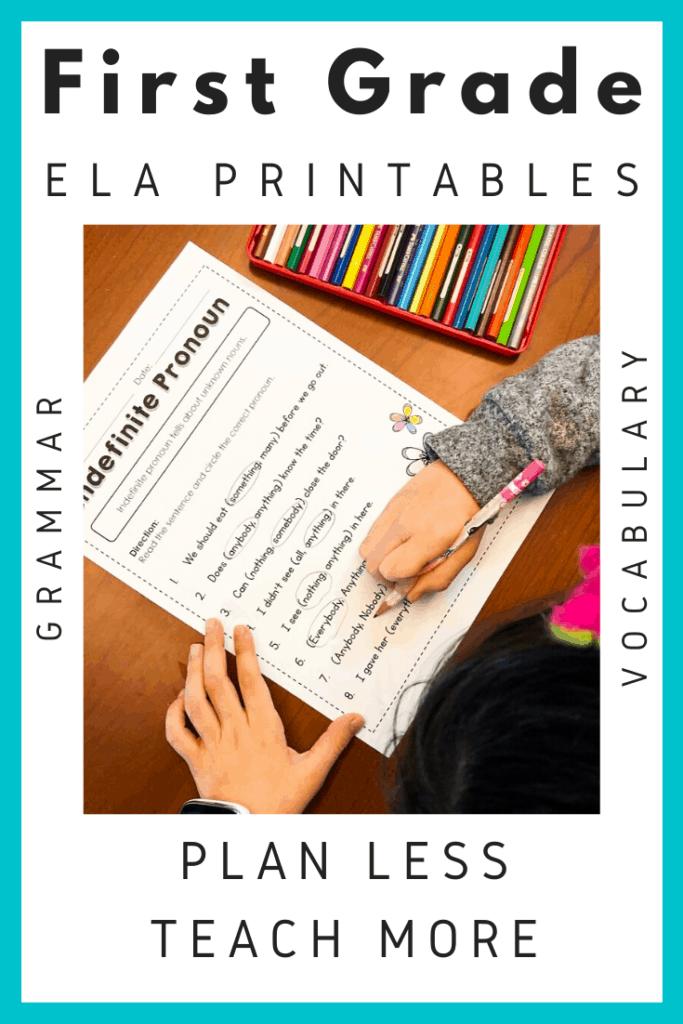 First Grade Common Core Language Arts - Tiny Teaching Shack