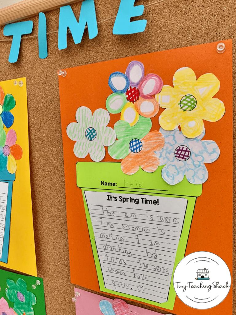 spring 5 sense writing for first grade