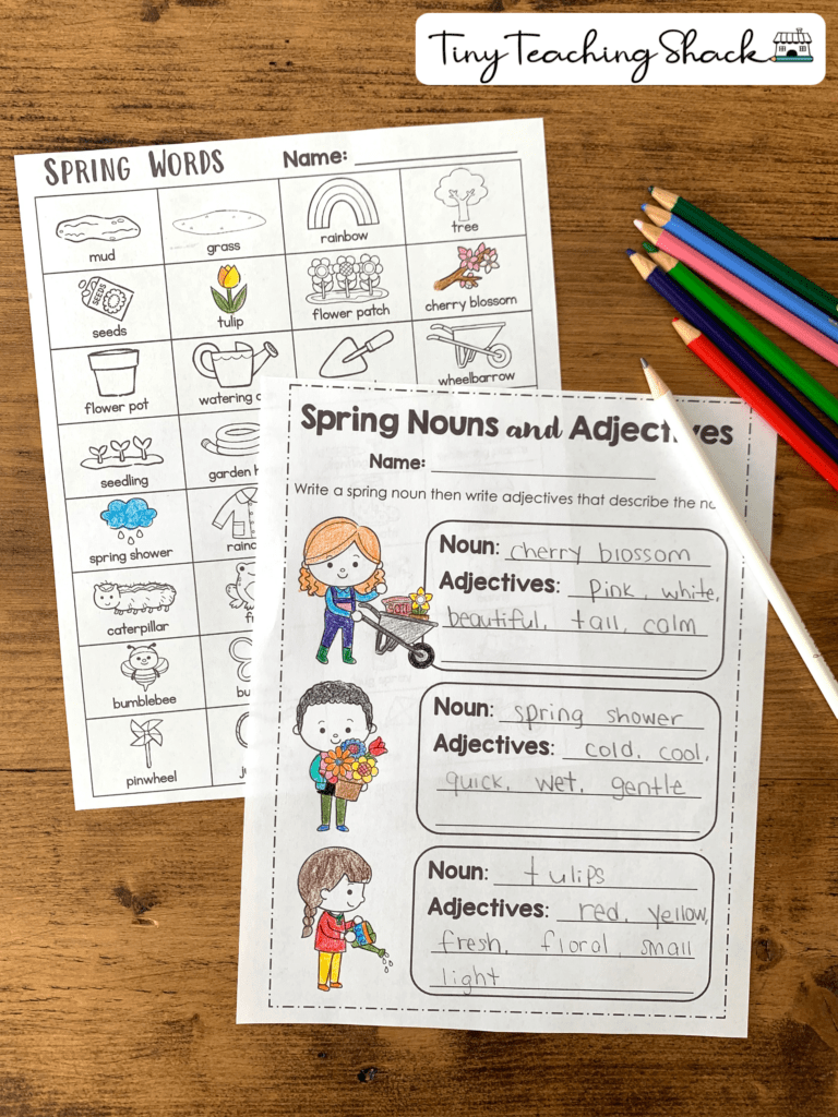 noun and adjectives spring writing