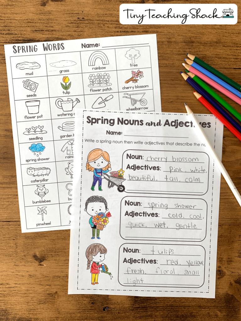 noun and adjectives spring writing