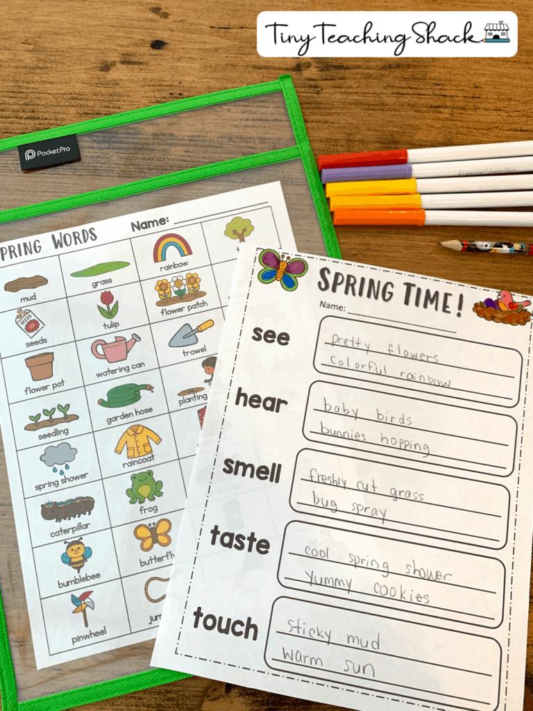 spring five senses descriptive writing first and second grade