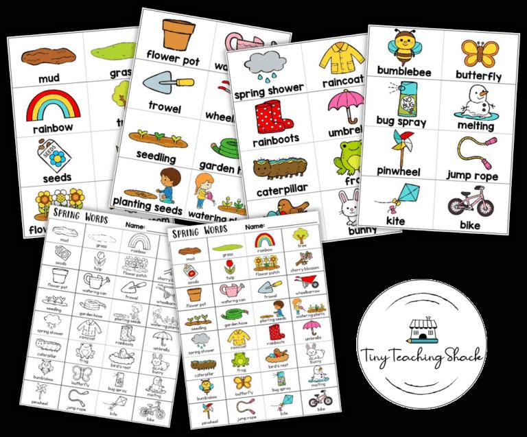 spring word wall flashcards