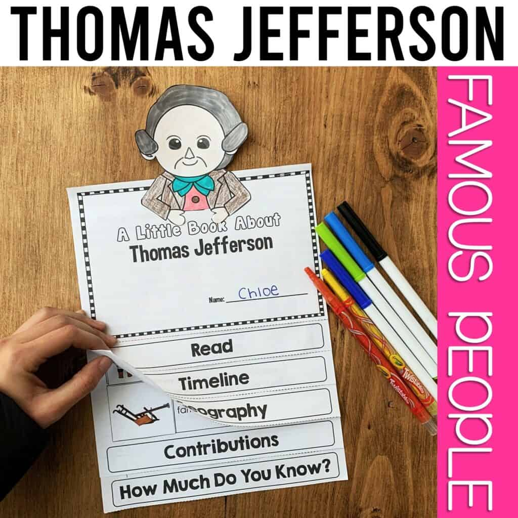 interactive flipbook of thomas jefferson perfect for president's day activity