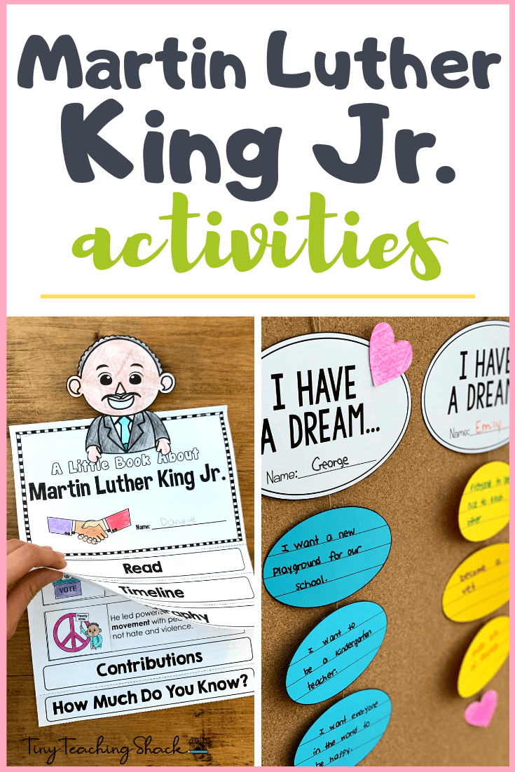 Martin Luther King Jr. Activities- flipbook, Martin Luther King arts and crafts, read alouds, picture books, and free writing craft