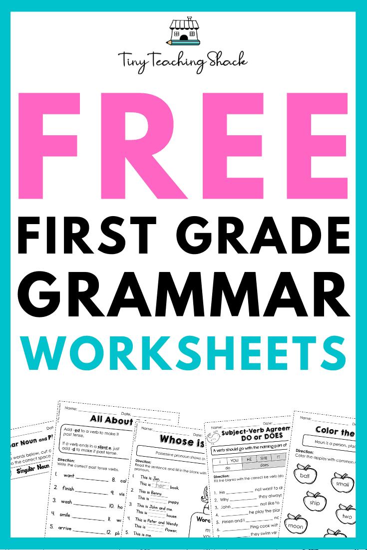 free first grade language worksheets