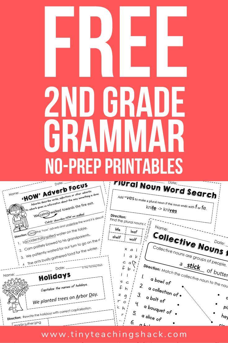 free second grade grammar worksheets