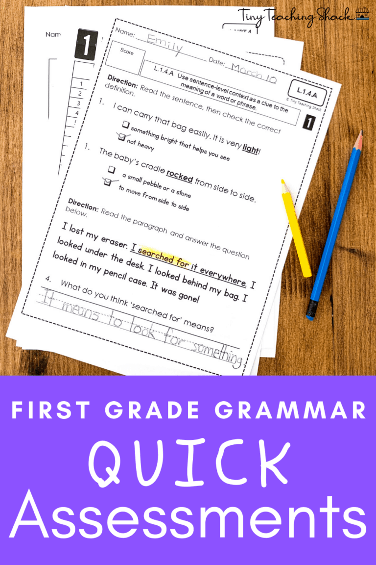 first grade and esol grammar assessments