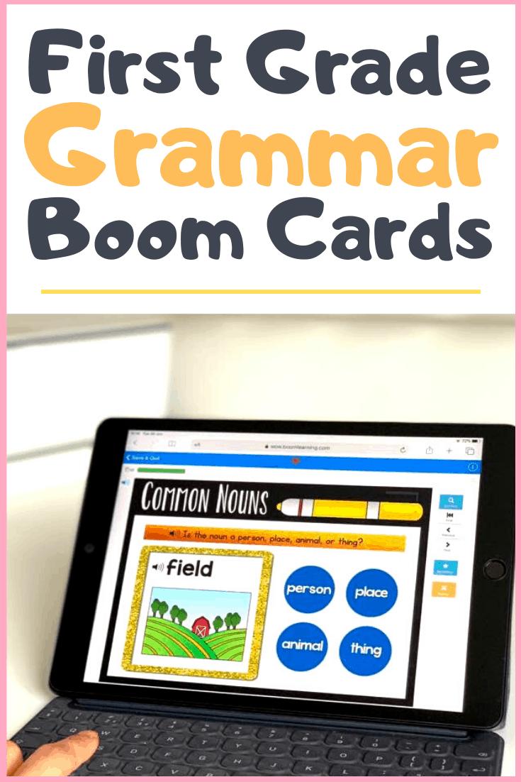 first grade grammar and language boom cards