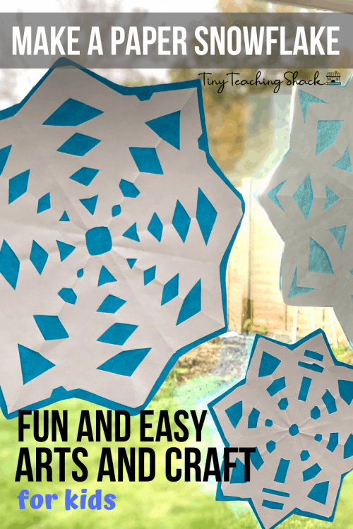 kids art and craft make a paper snowflake
