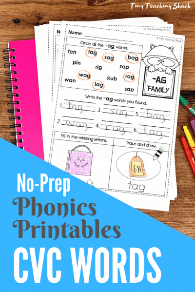 cvc words phonics no-prep printables
