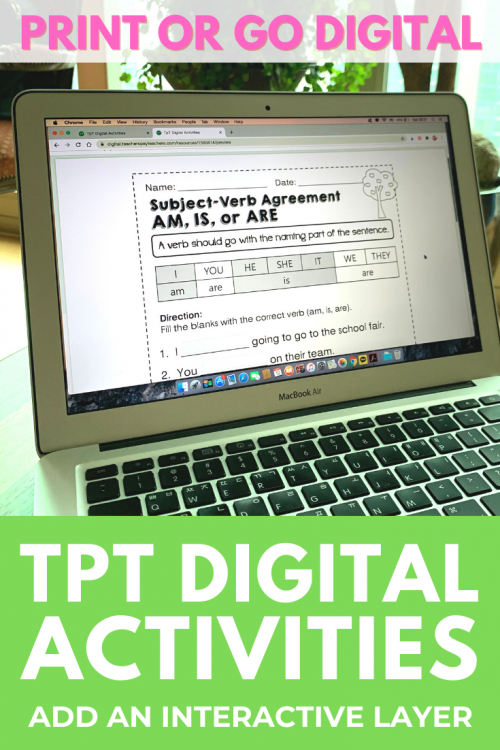 distance learning tpt digital first grade grammar