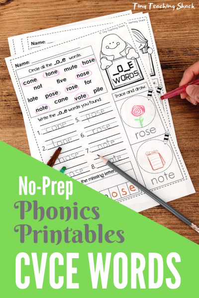 cvce phonics no-prep printables