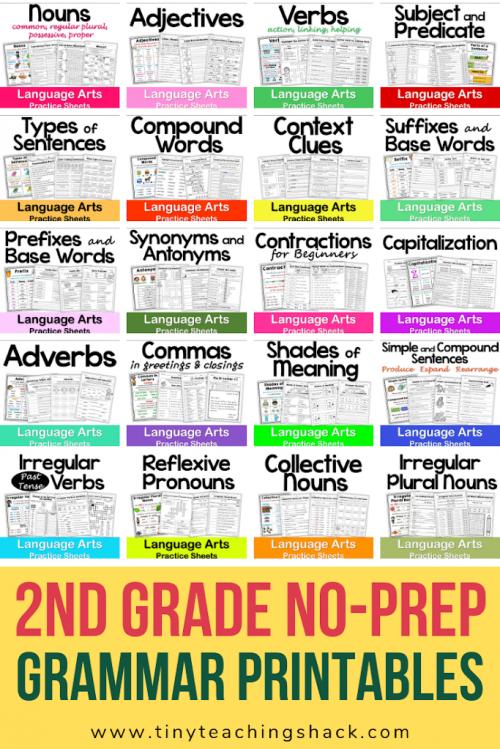 second grade Common Core grammar and language no-prep printables