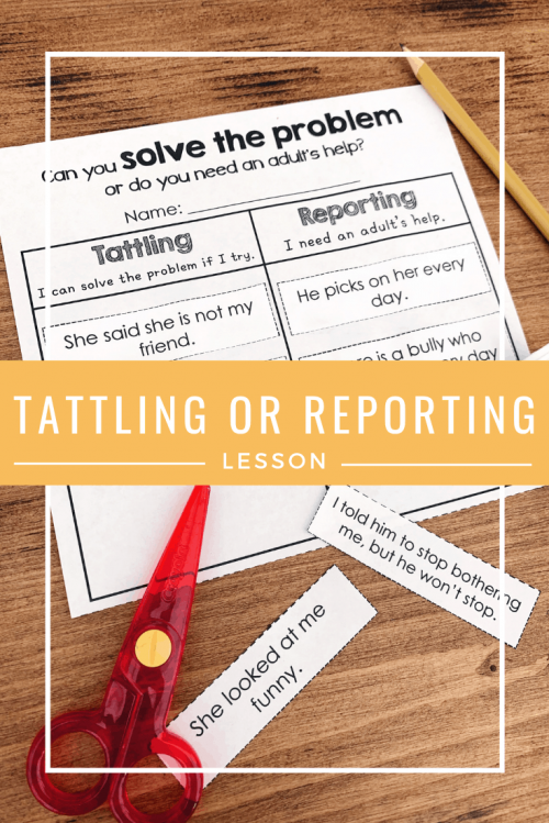 tattling or reporting no prep printables cut and paste