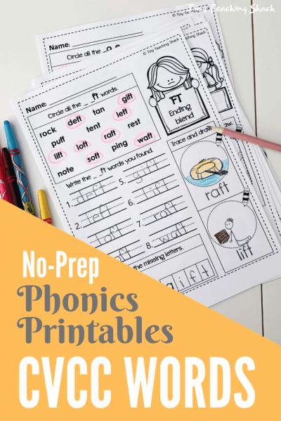 cvcc phonics no-prep printables