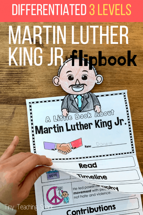 martin luther king flipbook writing activity for first grade, second grade, and third grade