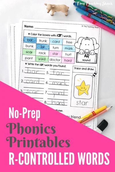 r-controlled words phonics no-prep printables