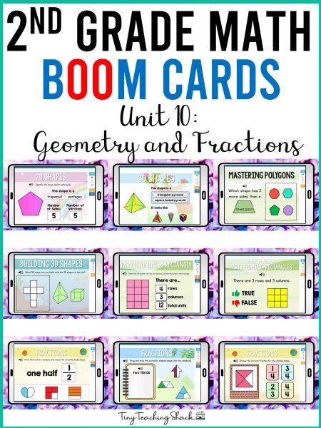 second grade math geometry and fractions boom cards