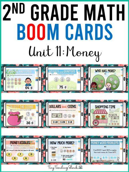 second grade money math boom cards