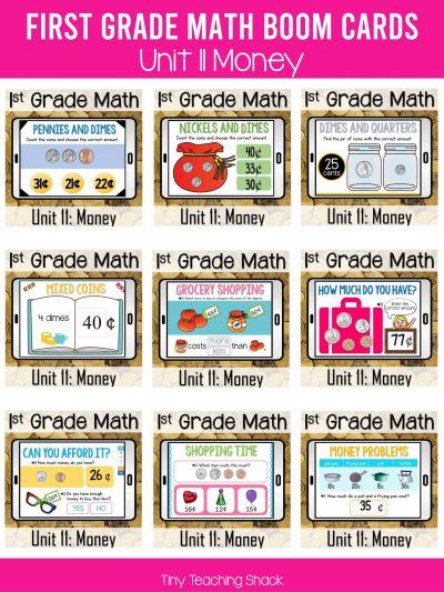 first grade math money boom cards