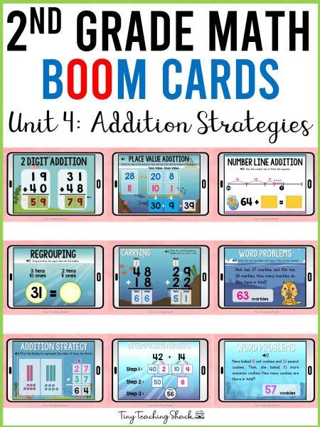 second grade math boom cards addition strategies