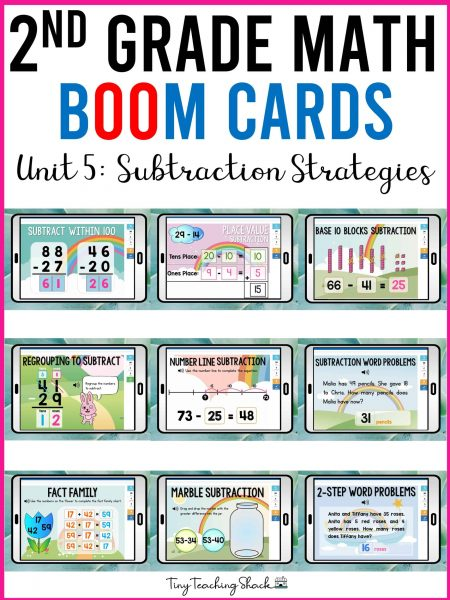 second grade subtraction strategies boom cards