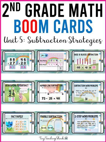 second grade subtraction strategies boom cards