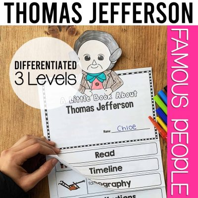 Thomas Jefferson biography flipbook for first grade, second grade, and third grade
