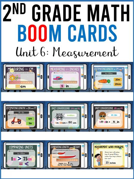 second grade math measurement boom cards