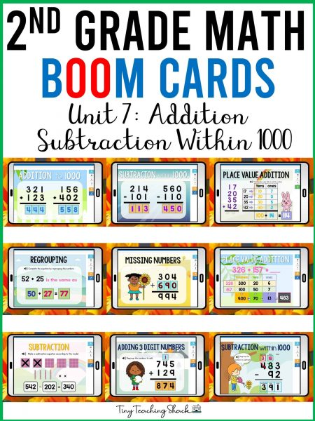 second grade math addition and subtraction within 1000 boom cards