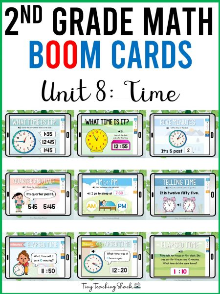 second grade math time boom cards