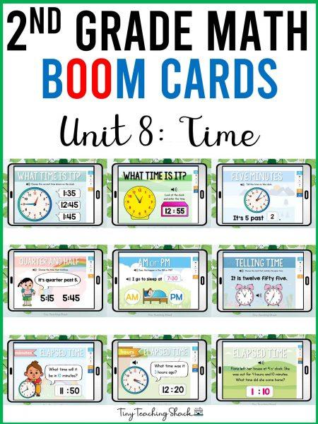 second grade math time boom cards