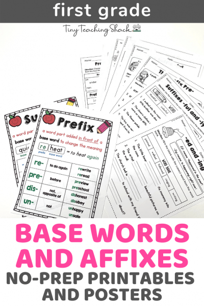 first grade common core base words and affixes worksheets