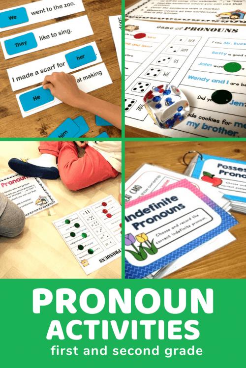 hands on pronoun literacy center activities