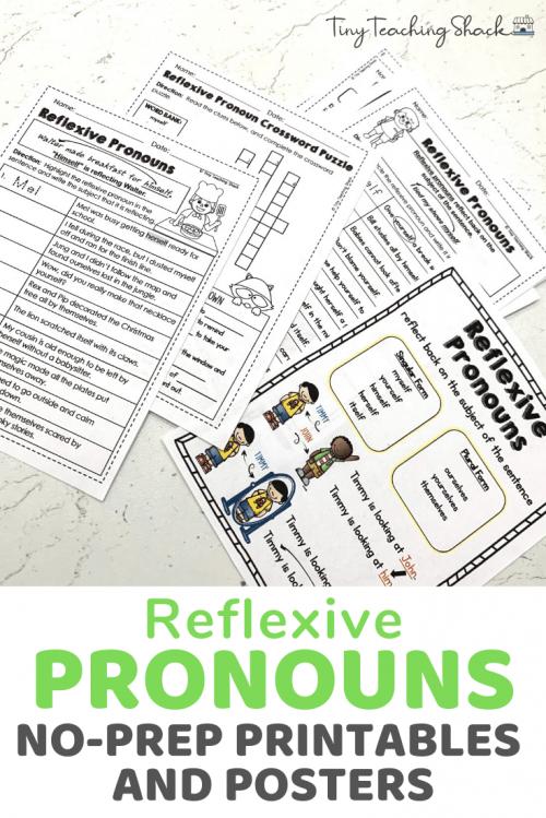 reflexive pronoun worksheets for second grade Common Core